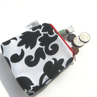 Business Card Holder. Small Pouch Change Purse. Black and White Damask. Zipper Closure. Fabric Lined. Spring/Summer Line.