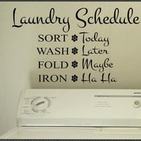 Vinyl Wall Lettering Laundry Room Funny Schedule by WallsThatTalk