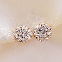 semi circular rhinestone earrings