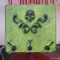 Zombie Key ring Holder, Skull keychain holder, Wall decor, Zombie decor,OOAK, neon green and Black