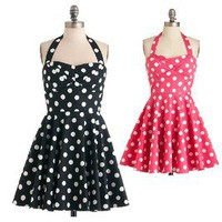 retro point halterneck dress skirt black rose red pink