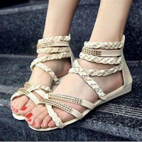 sweet Hansenne vivi Hand knitting sandals rhinestone Gladiator Shoes
