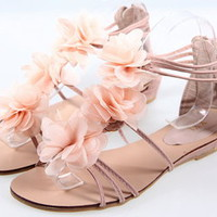 Hansenne sweet pink frosted flower sandal beach shoes