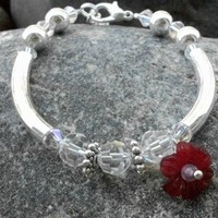 Frosted Flower Bracelet With Silver Tube Beads and Swarovski Crystals | JabberJewels - Jewelry on ArtFire