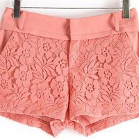 2013 Hansenne new fashion Vintage lace stitching OL pink sweet shorts
