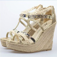 Hansenne retro hemp rope wedge heel Roman campagus Gladiator Shoes sandal
