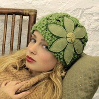 Moss Green Felt Flower Cloche Hat by mojospastyle on Etsy