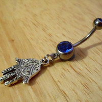 Belly Button Ring  Hamsa hand Belly button ring by ChelseaJewels