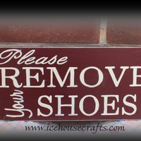 Please Remove Your Shoes Subway Art Sign | icehousecrafts - Folk Art & Primitives on ArtFire