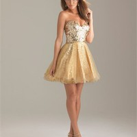 Strapless A-line Sweetheart Sequin Layered Gold Short Prom Dress PD0907