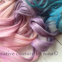 "Ciara Hair, Unicorn Hair, My Little Pony Hair, Ombre Hair Extensions, Pastel Hair, Festival Hair, (7)Pieces,18"", Ready To Ship"