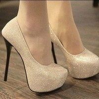sexy elegant Spangle high-heeled shoes