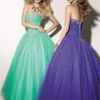 Ball Gown Floor Length Sweatheart Open Back Purple Or Light Green Ed1061 Sequins Evening Dress EVD110