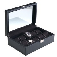 Carbon Fiber Pattern Watch Box With Key Lock, Clear Glass Top and 10 Watch Holders: Watches: Amazon.com