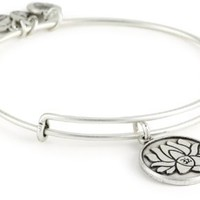 "Amazon.com: Alex and Ani Bangle Bar ""Lotus Peace Petals"" Russian-Silver Expandable Bracelet: Jewelry"