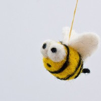 Miniature bumble bee needle felted ornament waldorf style | KeriMae - Fiber Arts on ArtFire