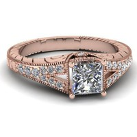 Amazon.com: Antique Carved Pave Set Engagement Ring 0.75 Ct Princess Cut VS2-E Color Diamond 14K: Fascinating Diamonds: Jewelry