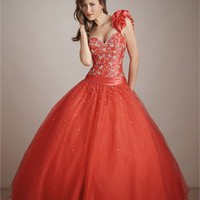 Glamourous One-shoulder Hollow Back Ball Gown Quinceanera Dress QD0106