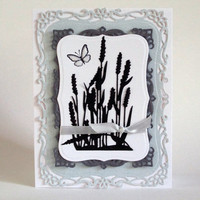 Cattails silhouette greeting card, any occasion