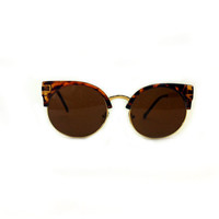 Retro TORTOISE print Cat Eye Sunglasses