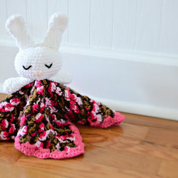 Bunny Rabbit Security Blanket Crocheted - Baby Blanket - Baby Toy
