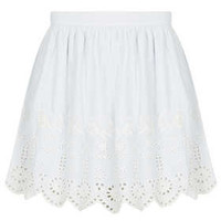 Blue Cutwork Cotton Skirt - Skirts  - Clothing