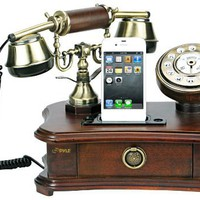 Pyle Retro Home Telephone with Charger for iPhone/iPod