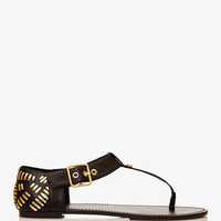 Metallic-Woven Thong Sandals