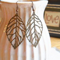 L E A F Antique Bronze Leaf Dangle Earrings by handmadebyfirefli