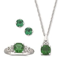 Lab Created Simulated Emerald 3 Piece Set Sterling Silver Ring all sizes Necklace with Hearts Pendant Pierced Earrings