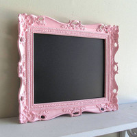 Pink CHALKBOARD w/ Easel Birthday Party Sign Decoration Pink Wedding Nursery Photo Prop Magnetic Ornate Picture Frame Baby Gift- MORE COLORS