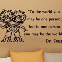 Dr Seuss Thing 1 Thing 2 inspirational wall quote vinyl art decal sticker 22in