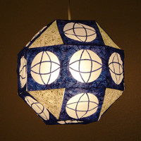 Ultramarine Geometric Paper Lantern with Ring Cross