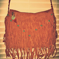 Boho Fringe Peace Turquoise Hemp Beaded Shoulder Messenger Purse