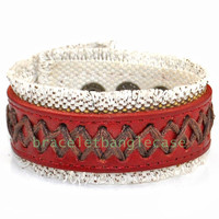 Red leather cuff bracelet hemp ropes woven wrist bracelet women's cuff bracelet friendship gifts d-401