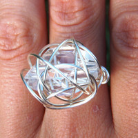 Wire Wrapped Crystal Ring by BlissfulBite on Etsy