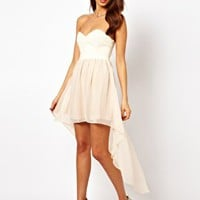 Rare Hi Lo Dress With PU Corset at asos.com