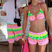 Fluorescence Beach Shorts and Bikini