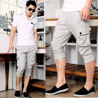 New Korea Mens Drawstring Sport Cropped Pants Trousers Comfy Casual Gray M L XL