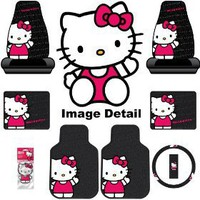 Hello Kitty Sanrio Waving Auto Car Truck SUV Accessories Interior Combo Kit Gift Set - 8PC