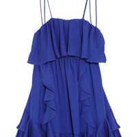 T-Bags Ruffled stretch-georgette mini dress – 56% at THE OUTNET.COM