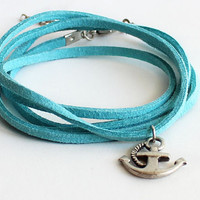 Wrap bracelet necklace blue turquoise suede summer anchor bohemian