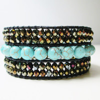 NEW Gemstone Beaded Leather Cuff Bracelet - Turquoise and Bronze Czech Crystal- Ready To Ship