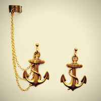 golden anchor ear cuff, anchor earrings, nautical earrings, anchor accessory,