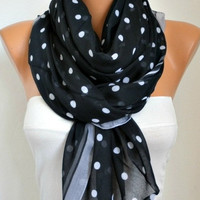 BIG SALE Polka dots Scarf - Cotton Scarf Shawl Bridesmaid Gift  Multicolor Beach wrap Pareo -fatwoman