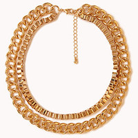 Layered Box & Curb Chain Necklace
