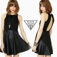 Backless Stitching PU dress from Blacksheeps!