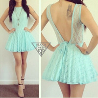 Lace Tutu Backless Dress IN MINT from Blacksheeps!