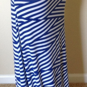 blue and white striped skirt from seasonsapparel on wanelo