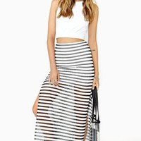 Static Stripe Maxi Skirt